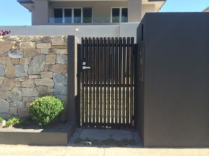 Timber Batten Pedestrian Gate Black Rock
