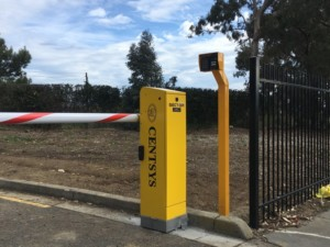 CENTSYS Sector Industrial Boom Gate with GSM intercom system and keypad entry