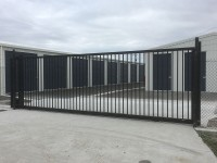 Commercial sliding gate powder coated inblack