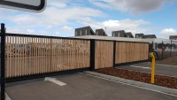 image of dual cantilever gates built for school in Sunbury
